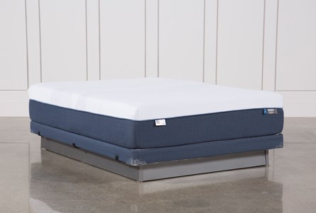 Blue Hybrid Plush Queen Mattress W/Low Profile Foundation