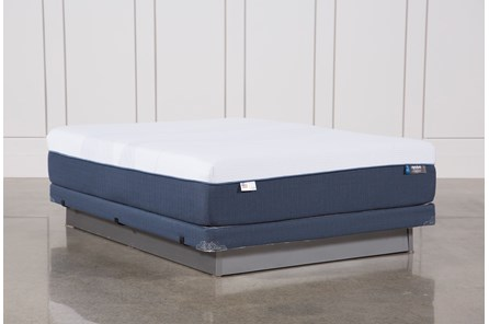 Blue Hybrid Plush Queen Mattress W/Low Profile Foundation - Main