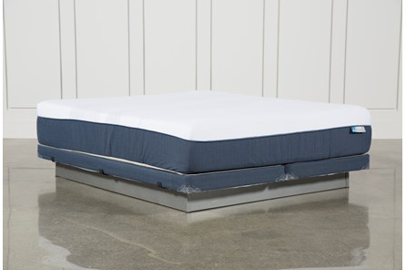 Blue Hybrid Plush Cal King Mattress W/Low Profile Foundation - Main