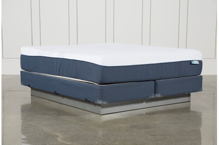 Blue Hybrid Plush Eastern King Mattress W/Foundation