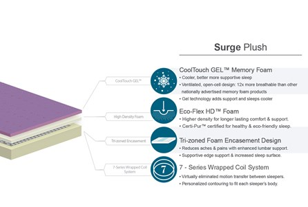 Surge Plush California King Mattress W/Low Profile Foundation