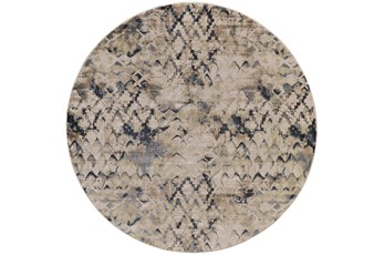 96 Inch Round Rug-Distressed Geometric Camel