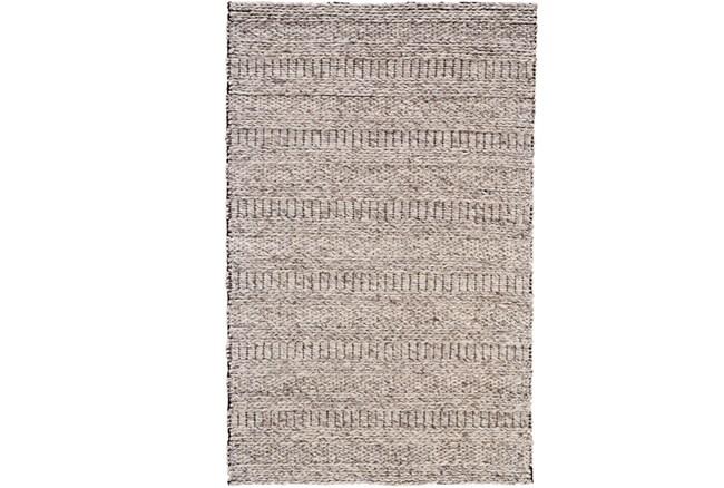 60X96 Rug-Oatmeal Textured Wool Stripe - 360
