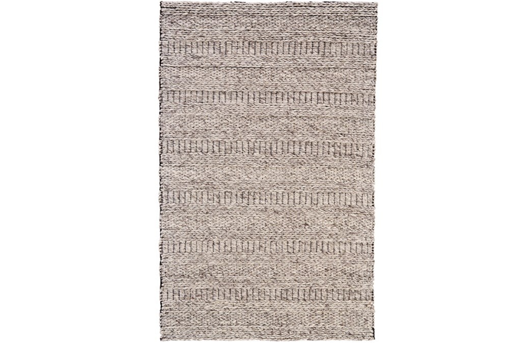 96X132 Rug-Oatmeal Textured Wool Stripe