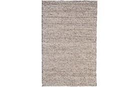 96X132 Rug-Oatmeal Textured Wool Stripe