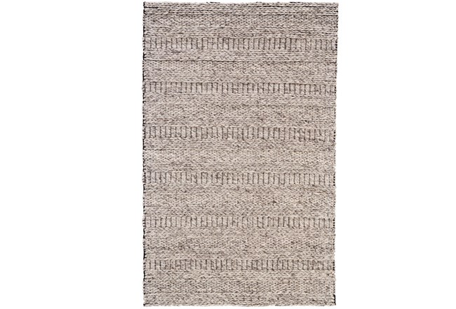 96X132 Rug-Oatmeal Textured Wool Stripe - 360