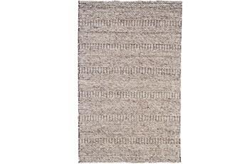 114X162 Rug-Oatmeal Textured Wool Stripe