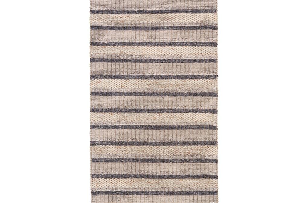 42X66 Rug-Natural Textured Wool Stripe