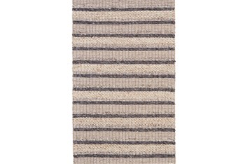 "3'5""x5'5"" Rug-Natural Textured Wool Stripe"