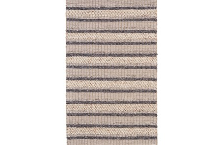 42X66 Rug-Natural Textured Wool Stripe