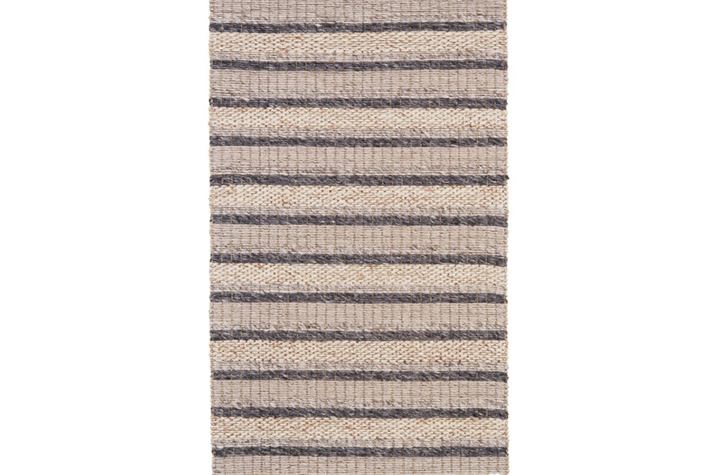 60X96 Rug-Natural Textured Wool Stripe