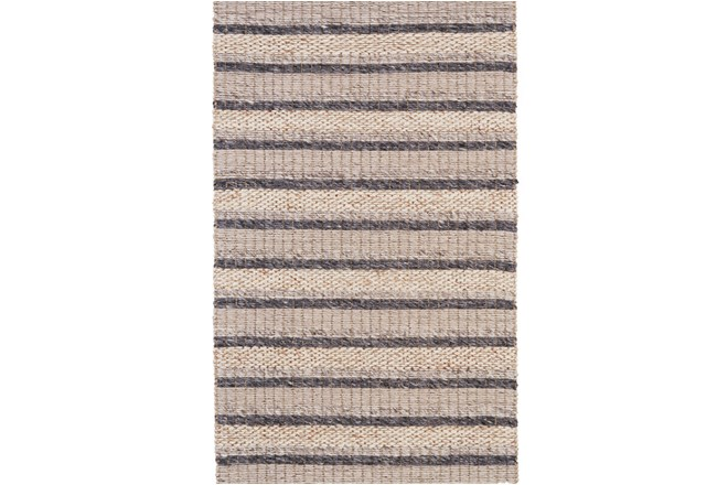 96X132 Rug-Natural Textured Wool Stripe - 360