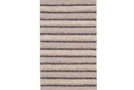 114X162 Rug-Natural Textured Wool Stripe