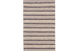 114X162 Rug-Natural Textured Wool Stripe