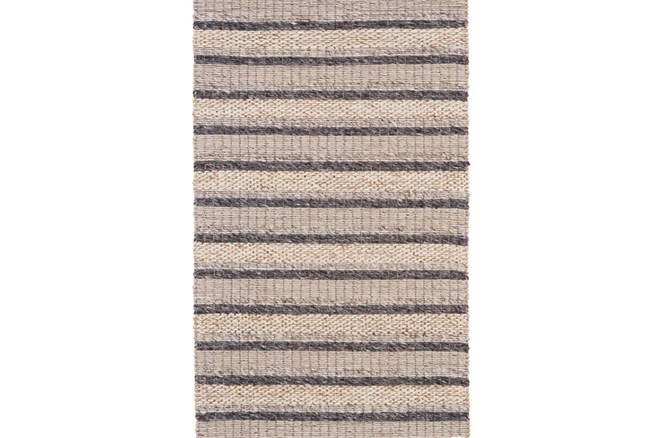 114X162 Rug-Natural Textured Wool Stripe - 360