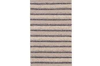 2'x3' Rug-Natural Textured Wool Stripe