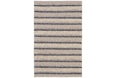 2'x3' Rug-Natural Textured Wool Stripe