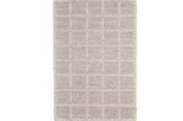 42X66 Rug-Ivory Textured Wool Grid