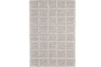 42X66 Rug-Ivory Textured Wool Grid