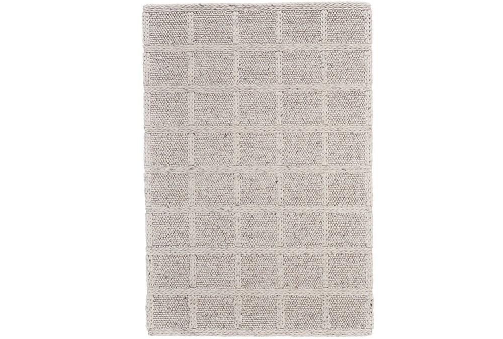 5'x8' Rug-Ivory Textured Wool Grid