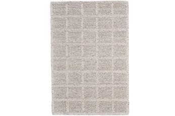 60X96 Rug-Ivory Textured Wool Grid