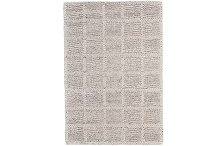 60X96 Rug-Ivory Textured Wool Grid