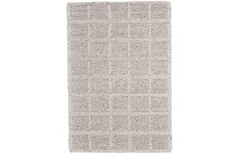 96X132 Rug-Ivory Textured Wool Grid