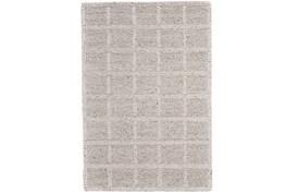 114X162 Rug-Ivory Textured Wool Grid