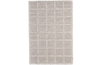 "9'5""x13'5"" Rug-Ivory Textured Wool Grid"
