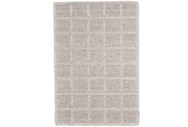114X162 Rug-Ivory Textured Wool Grid - 360