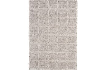 2'x3' Rug-Ivory Textured Wool Grid
