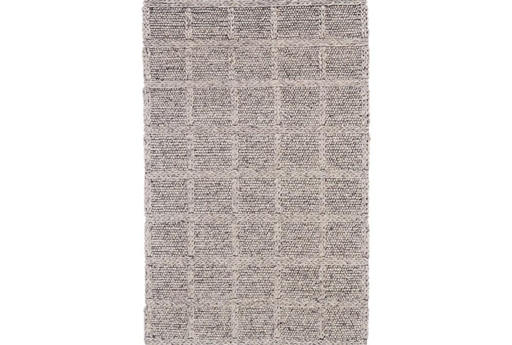 42X66 Rug-Grey Textured Wool Grid