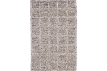 42X66 Rug-Grey Textured Wool Grid