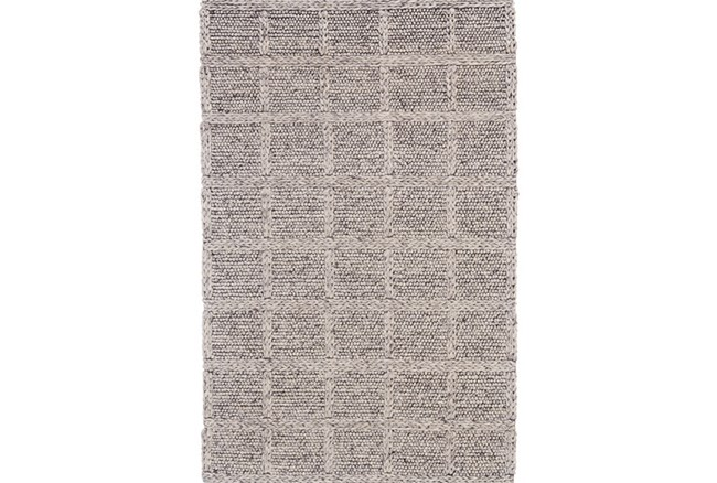 42X66 Rug-Grey Textured Wool Grid - 360
