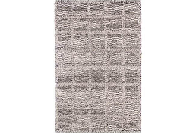 42X66 Rug-Grey Textured Wool Grid - 360