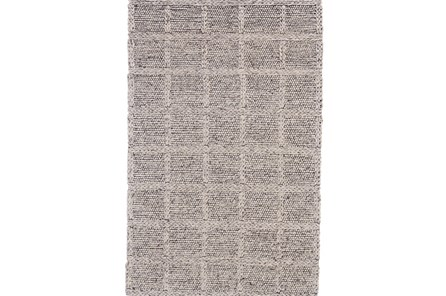 96X132 Rug-Grey Textured Wool Grid
