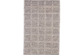 114X162 Rug-Grey Textured Wool Grid