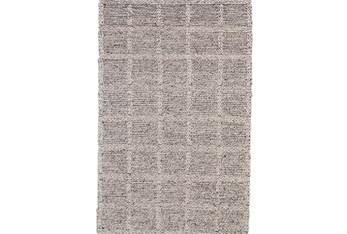 """9'5""""x13'5"""" Rug-Grey Textured Wool Grid"""