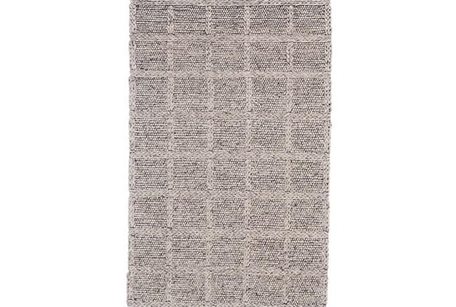 114X162 Rug-Grey Textured Wool Grid - 360