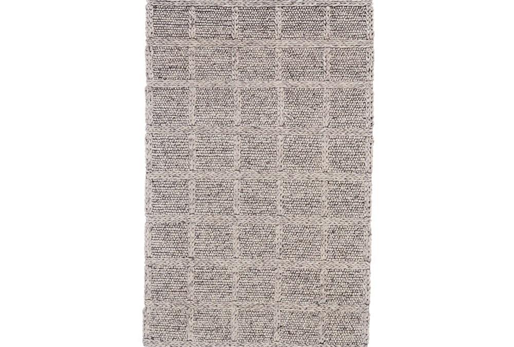 2'x3' Rug-Grey Textured Wool Grid