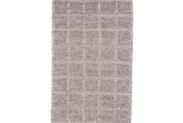 24X36 Rug-Grey Textured Wool Grid