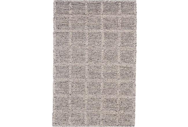 2'x3' Rug-Grey Textured Wool Grid - 360