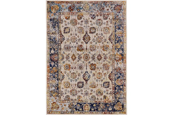 96 Inch Round Rug-Solene Cream And Blue - 360
