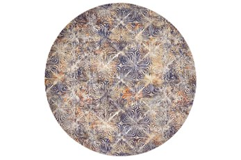 96 Inch Round Rug-Mebel Cream And Indigo