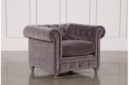 Mansfield Graphite Velvet Chair - Main