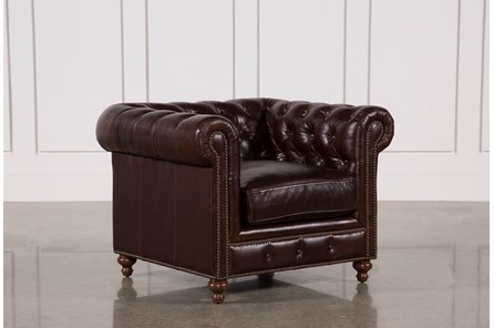 Mansfield Cocoa Leather Chair - Main