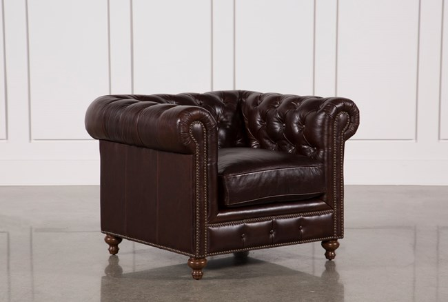 Mansfield Cocoa Leather Chair - 360