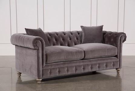 Mansfield 86 Inch Graphite Velvet Sofa