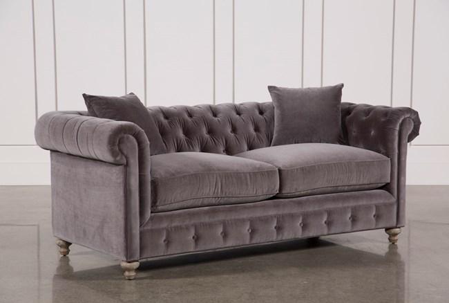 Mansfield 86 Inch Graphite Velvet Sofa - 360