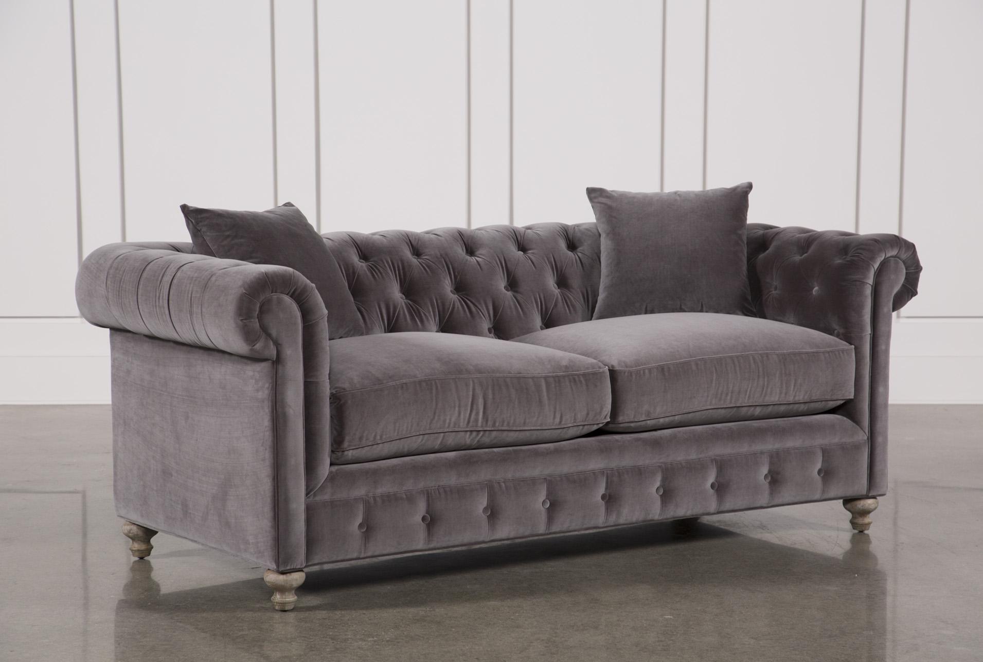 Mansfield 86 Inch Graphite Velvet Sofa   360